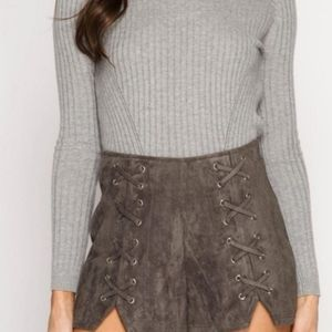 She + Sky Faux Suede Lace Up High Waisted Shorts